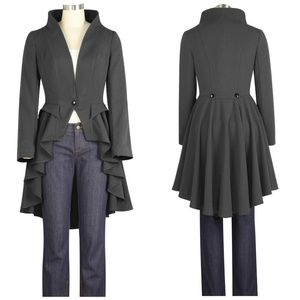 Jackets & Blazers - Plus Size Collar Long Tail High Low Jacket Gray